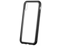 Husa Aluminiu OEM Magnetic Frame Hybrid cu spate din sticla pentru Apple iPhone XS Max, Neagra, Bulk