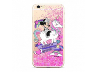 Husa TPU Disney Minnie 035 Liquid Glitter pentru Apple iPhone 7 / Apple iPhone 8, Roz, Blister