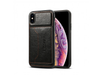 Husa Dibase Crazy Horse pentru Apple iPhone XS Max, Neagra, Bulk