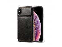 Husa Dibase Crazy Horse pentru Apple iPhone X / Apple iPhone XS, Neagra, Bulk