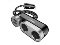 Adaptor auto Rock cu 2 iesiri bricheta + 2 x USB, Negru, Blister