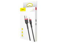 Cablu Date si Incarcare USB la Lightning Baseus Cafule, 1.5A, 2 m, Negru - Rosu, Blister CALKLF-C19