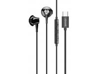 Handsfree Casti EarBuds Usams EP-25 Metal Stereo, Cu microfon, USB Type-C, Negru, Blister