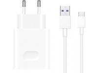 Incarcator Retea cu cablu USB Tip-C Huawei CP84 Fast Charge, Alb, Blister 55030369