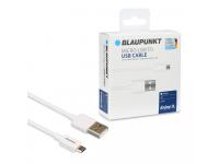Cablu Date si Incarcare USB la MicroUSB Blaupunkt, 1.2 m, Alb, Blister BP-MCW12-T