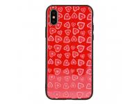 Husa TPU Vennus Heart cu spate din sticla pentru Apple iPhone 7 / Apple iPhone 8, Rosie, Bulk