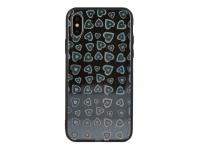 Husa TPU Vennus Heart cu spate din sticla pentru Apple iPhone X / Apple iPhone XS, Neagra, Bulk