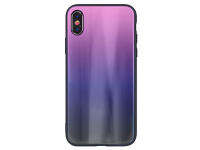 Husa TPU OEM Aurora cu spate din sticla pentru Apple iPhone XR, Neagra - Roz, Bulk