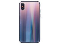 Husa TPU OEM Aurora cu spate din sticla pentru Samsung J6 Plus (2018) J610, Maro - Neagra, Bulk