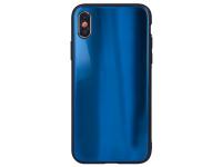 Husa TPU OEM Aurora cu spate din sticla pentru Samsung Galaxy S8 G950, Bleumarin, Bulk