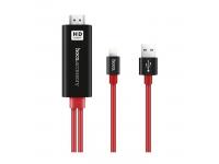 Adaptor Audio si Video Lightning la HDMI HOCO UA4, cu alimentare USB, 2 m, Negru - Rosu, Blister