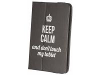 Husa Poliuretan GreenGo Keep Calm pentru Tableta 7 inci - 8 inci, Dimensiuni interioare 210 x 140 mm, Neagra, Bulk
