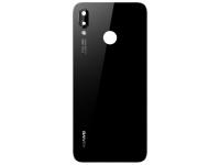 Capac Baterie Negru cu geam camera si senzor amprenta, Swap Huawei P20 Lite