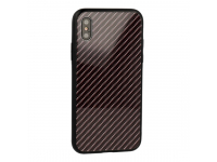 Husa TPU OEM Carbon cu spate din sticla pentru Samsung Galaxy S8 G950, Gri, Bulk