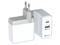 Incarcator Retea DEVIA QC 3.0 PD, 1 X USB - 1 X USB Tip-C, Alb, Blister