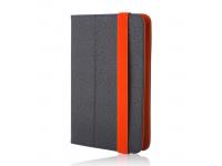 Husa Piele GreenGo Orbi pentru Tableta 7 inci - 8 inci, Dimensiuni interioare 210 x 140 mm, Neagra - Portocalie, Bulk