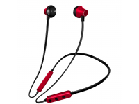Handsfree Casti Bluetooth OEM MG-G18, Sport, SinglePoint, Negru - Rosu, Blister