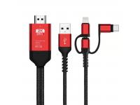 Cablu Audio si Video HDMI la MicroUSB - HDMI la USB Type-C - HDMI la Lightning - USB la HDMI OEM 3in1, 2m, Negru - Rosu, Blister