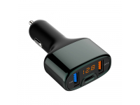 Incarcator Auto USB Tellur CCY4, QC3, Afisaj led, 1 X USB Tip-C - 2 X USB, Negru, Blister TLL151171