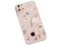 Husa TPU OEM Flower and Bird pentru Apple iPhone 6 / Apple iPhone 6s, Multicolor, Bulk