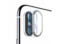 Folie Protectie Camera spate Totu Design pentru Apple iPhone X / Apple iPhone XS, Sticla securizata, Cu rama metalica, Argintie, Blister