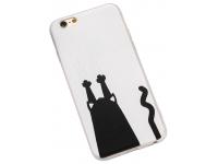Husa TPU OEM Black Cat Catch Wall pentru Apple iPhone 6 / Apple iPhone 6s, Alba - Neagra, Bulk