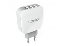 Incarcator retea Ldnio DL-AC70, Lightning, 3 x USB, Alb, Blister