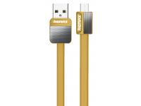 Cablu Date si Incarcare USB la MicroUSB Remax Platinium Metal RC-044m, 1 m, Auriu, Blister