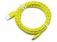 Cablu Date si Incarcare USB la MicroUSB OEM Textil, 2 m, Galben, Bulk