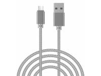 Cablu Date si Incarcare USB la MicroUSB OEM Woven, 1 m, Argintiu, Bulk
