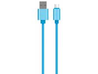Cablu Date si Incarcare USB la MicroUSB OEM Woven, 1 m, Albastru, Bulk