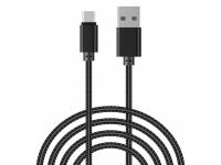 Cablu Date si Incarcare USB la USB Type-C OEM Woven, 2 m, Negru, Bulk