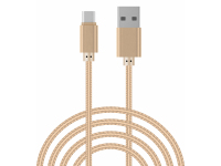 Cablu Date si Incarcare USB la USB Type-C OEM Woven, 2 m, Auriu, Bulk