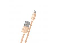 Cablu Date si Incarcare USB la MicroUSB HOCO Knitted X2, 1 m, Auriu, Blister