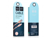 Cablu Date si Incarcare USB la Lightning HOCO Knitted X2, 1 m, Auriu, Blister