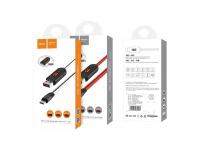 Cablu Date si Incarcare USB la MicroUSB HOCO U29 cu afisaj LED, 1m, Alb, Blister