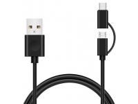 Cablu Date si Incarcare USB la MicroUSB - USB la USB Type-C Goji, 1 m, Negru, Blister GOJ2IN1TYPE
