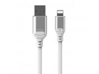 Cablu Date si Incarcare USB la Lightning Proda Leiyin PD-B14i cu LED-uri, 2.1A, 1 m, Alb, Blister