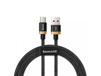 Cablu Date si Incarcare USB la USB Type-C Baseus Purple Gold Red Flash, 1 m, Negru, Blister CATZH-AV1