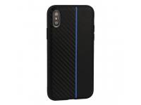 Husa TPU TEL1 Moto Carbon pentru Huawei P30, Albastra - Neagra, Bulk