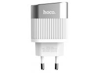 Incarcator Retea USB HOCO C40A cu afisaj LED, 2 X USB, Alb, Blister