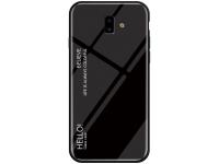 Husa TPU OEM cu spate din sticla, Gradient pentru Samsung J6 Plus (2018) J610, Neagra, Bulk