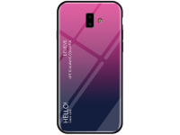 Husa TPU OEM cu spate din sticla, Gradient pentru Samsung J6 Plus (2018) J610, Roz, Bulk