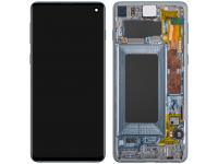 Display - Touchscreen Samsung Galaxy S10 G973, Cu Rama, Albastru (Prism Blue) GH82-18850C