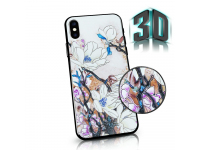 Husa Plastic - TPU OEM 3D Flowers pentru Samsung Galaxy A40 A405, Alba, Blister