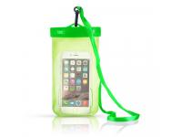 Husa Poliuretan OEM Waterproof 95 x 155 mm pentru Telefon 6 inci, Transparenta - Verde, Bulk