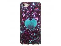 Husa TPU OEM Glitter Green Heart pentru Apple iPhone 7 / Apple iPhone 8, Multicolor, Bulk