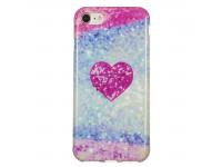 Husa TPU OEM Glitter Red Heart pentru Apple iPhone 7 / Apple iPhone 8, Multicolor, Bulk