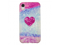 Husa TPU OEM Glitter Red Heart pentru Apple iPhone XR, Multicolor, Bulk