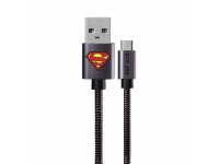Cablu Date si Incarcare USB la MicroUSB DC Comics Metal Superman 002, 1 m, Negru, Blister